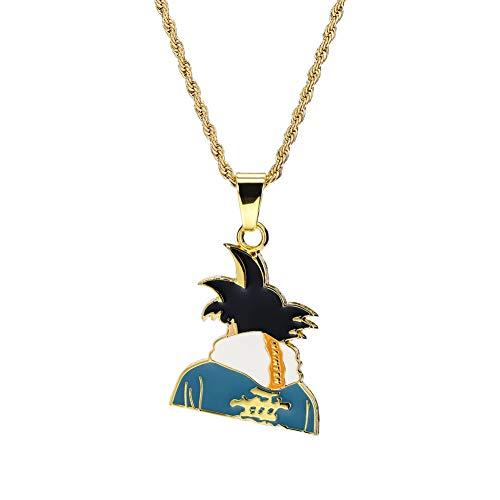 RXISHOP Collana con pendente di marca di marea di anime, collana con ciondolo studente di strada punk hip-hop hip-hop Gioielli da regalo per uomo e donna-gold