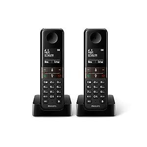 Philips D4502W - Teléfono Inalámbrico Dect Duo (Manos Libres, Pantalla 4.6 cm), Blanco: Amazon.es: Electrónica