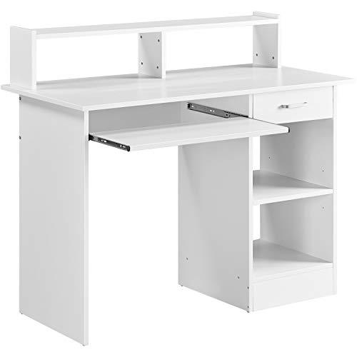Yaheetech Escritorio con Soporte de Minitor Blanco 106 x 50 x 75 cm Mesa de Ordenador de Madera Mesa para Estudio Moderno para Oficina Despacho con Cajón Estantes