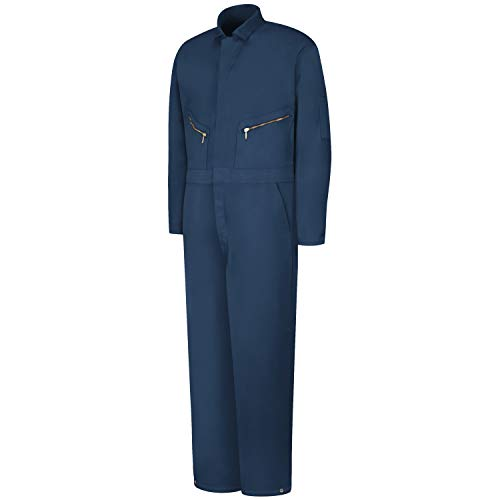 Red Kap Men's Insulated Twill Coverall with Quilted Lining, Long Sleeve, Navy, Medium