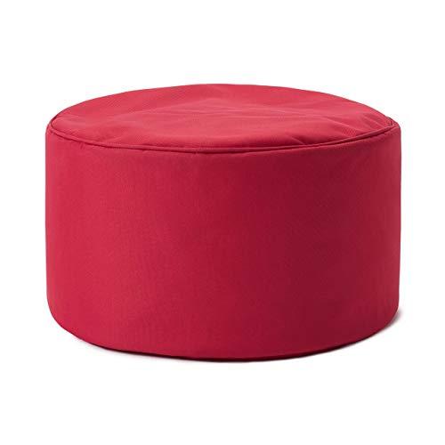 Lumaland Indoor Outdoor Sitzhocker 25 x 45 cm - Runder Sitzpouf, Sitzsack Bodenkissen, Sitzkissen, Bean Bag Pouf - Wasserabweisend - Pflegeleicht - ideal für Kinder und Erwachsene - Rot