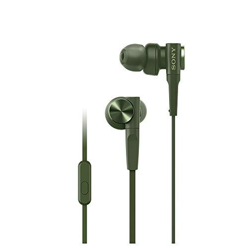ソニーイヤホン重低音モデルMDR-XB55AP:カナル型リモコン・マイク付きグリーンMDR-XB55APG
