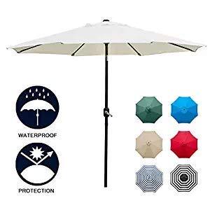 Keepbest 9' Patio Paraplu Outdoor Tafel Paraplu met 8 Stevige Ribben