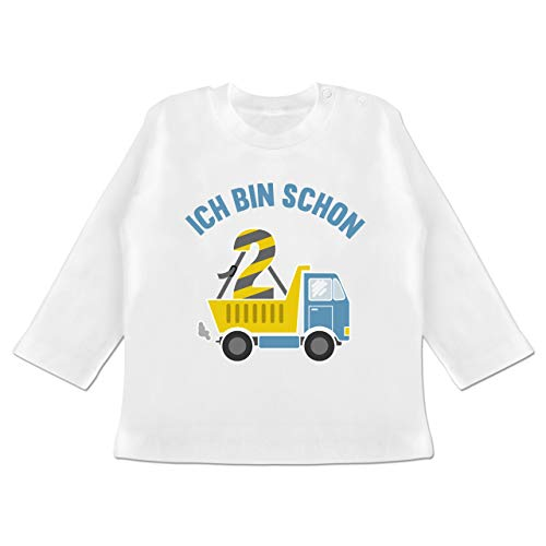 Shirtracer Geburtstag Baby - Ich Bin Schon 2 LKW - 12/18 Monate - Weiß - Langarmshirt 2 Jahre Geburtstag - BZ11 - Baby T-Shirt Langarm