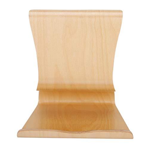 Bordes redondeados Práctico soporte de mesa de madera para escritorio de oficina para Ipad Iphone para teléfono móvil para sala de estar (color crema, azul)