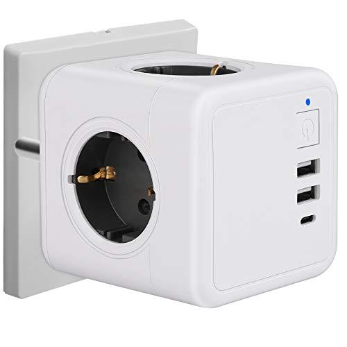 Mehrfachsteckdose mit USB, Würfel Steckdosenleiste 3 Fach Überspannungsschutz mit Schalter, 1 Typ-C, 2 USB Ladegerät (3A), 7-in-1 Steckdosenadapter für Büro, Hause und Reisen, Kabellos