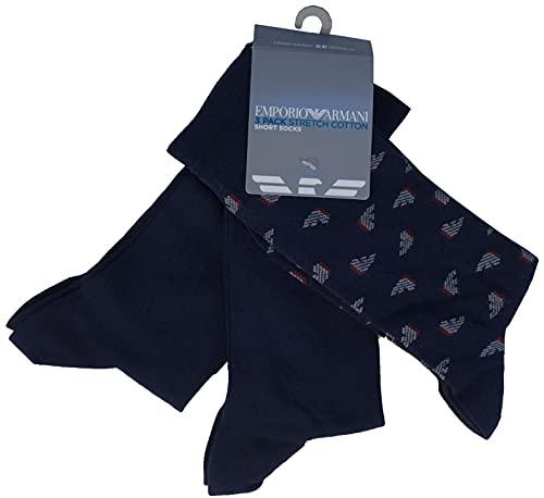 Emporio Armani Underwear Casual Paquete de 3 Calcetines Cortos, Navyblue, TU (Pack de 3) de los Hombres