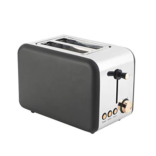 Salter, 850W, Rose Gold EK2652RG 2-Slice Toaster with Wide Slots | Removable Crumb Tray | Cancel & Reheat Function | 850 W | Stainless Steel Edition
