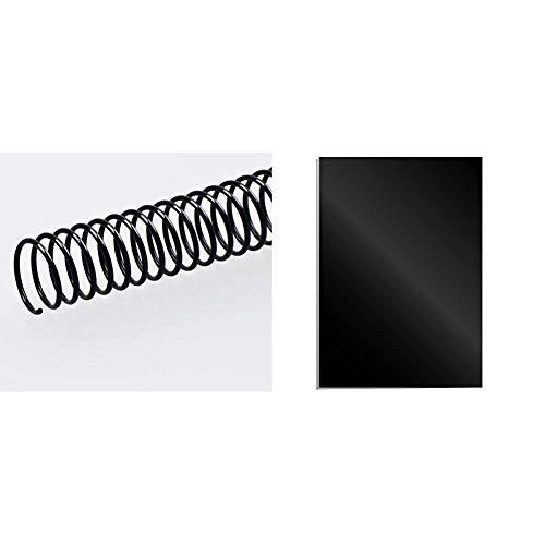 Fellowes 5111401 - Pack de 50 espirales metálicas 30 mm, negras + Portadas para encuadernar de cartón alto brillo Chromolux, extra rígido, 250 micras