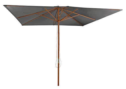 Pure Home & Garden Holz Sonnenschirm Odun 300 x 300 cm anthrazit, mit UV-Schutz 50 Plus und abnehmbarem Bezug