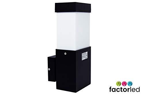 FactorLED buitenlamp, rechthoekig, voor LED-lampen, E27, LED-wandspot, buitenverlichting, LED-wandlamp voor decoratie, LED-verlichting