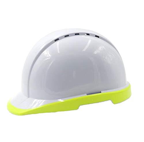 LIAN Fluoreszierende Helmkonstruktion Nighttime Weiß ABS Material Atmungsaktiver Milbenhelm, zweifarbig Spritzguss (Color : Fluorescent Yellow)