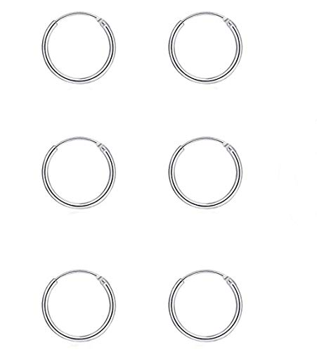Gulicx 3 Pairs 10mm Silver Small Hoop Earrings Set for Women Men Girls, Hypoallergenic 925 Sterling Silver Unisex Endless Cartilage Sleeper Hoop Earrings, Tragus Earrings Hinged Nose Lip Rings