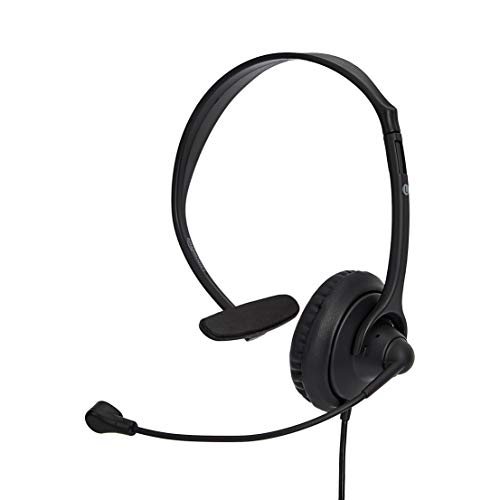 AmazonBasics – USB-Headset mit Mikrofon und Stummschaltfunktion, Lederbezug, einseitig