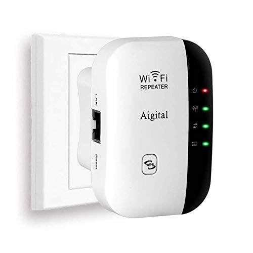 Aigital WLAN Booster WiFi Verstaerker Range Extender 300Mbps Multifunction Mini Wi-Fi Signal-verstärker Wireless Access Point 2.4GHz mit WPS Funktion Willigt IEEE802.11n/g/b