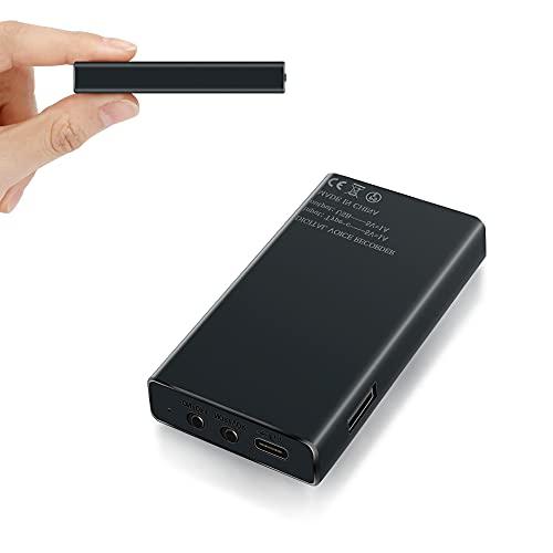 32GB Registratore Vocale Professionale con Attivazione Vocale, 2500mAh Registratore Audio con Durata Della Batteria di 288 ore e 365 Giorni in Standby - Portatile Magnetico Registratore Vocale