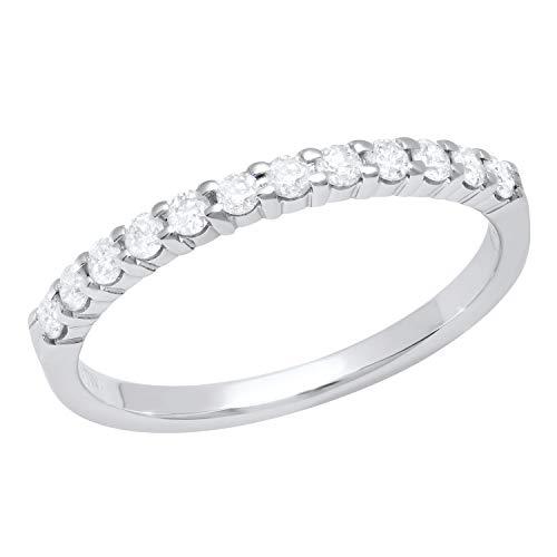 Dazzlingrock Collection Anillo de boda apilable de 0,50 quilates (quilates) con diamantes blancos redondos de 1/2 quilates, oro blanco de 10 quilates