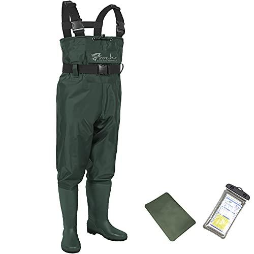 Waders pesca Stivali da pesca per uomo e donna, impermeabili, in PVC e nylon con gomma, taglia 38 – 47, ideali per la pesca, verde, 44