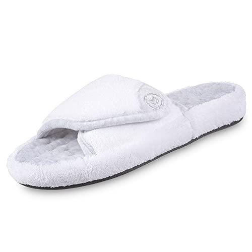 isotoner Women's Terry Spa Slip On Slide Slipper with Memory Foam for Indoor/Outdoor Comfort, White, 9.5/10