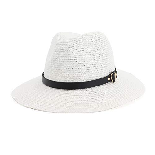 Charmylo Sombrero de Paja para Mujer, Disquete, protección UV Sombreros de Verano Sombrero Fedora Trilby Panama con Correa Ajustable