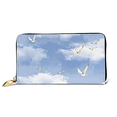 Sky with Doves - Monedero grande con múltiples ranuras para tarjetas de piel, cartera larga de embrague para mujer