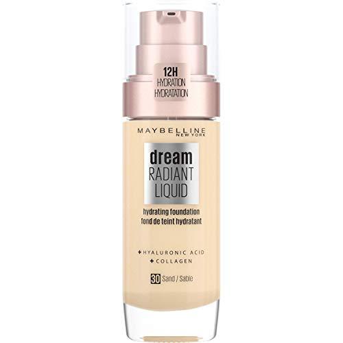 Maybelline Foundation Fond de Teint Hydratant Liquide Dream Radiant avec Acide Hyaluronique et Collagène - Couverture Légère et Moyenne jusqu'à 12 Heures d'hydratation, 30 Sand