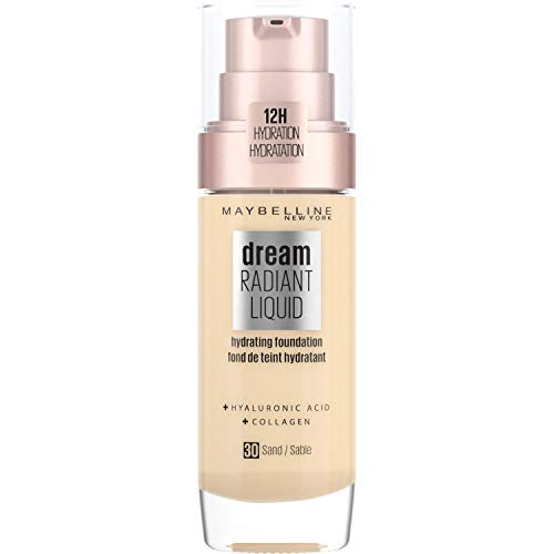 Maybelline Foundation Fond de Teint Hydratant Liquide Dream Radiant avec Acide Hyaluronique et Collagène - Couverture Légère et Moyenne jusqu'à 12 Heures d'hydratation, 30 Sand