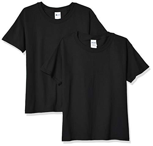 Gildan Youth Heavy Cotton T-Shirt, Style G5000B, 2-Pack, Black, Small