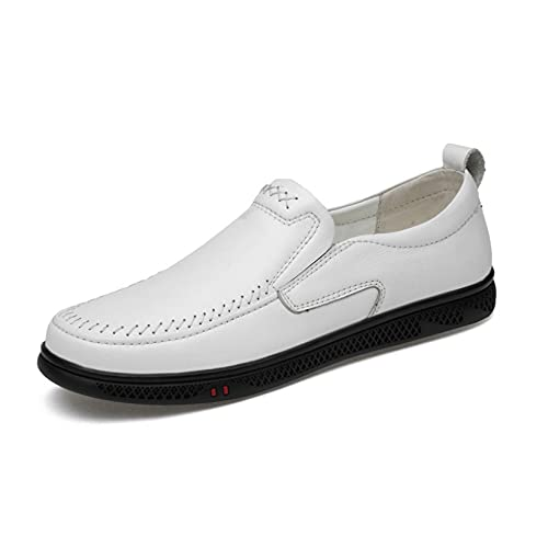 Men Flat Loafer Shoes All-Match Put-on Durable Business Comfy Hollow Breathable Rubber Sole Slip-ons Loafers for Gentlemen White