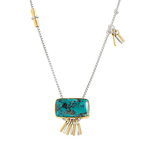 Silpada 'Turquoise Burst' 1 7/8 ct Compressed Turquoise Pendant Necklace in Sterling Silver & Brass