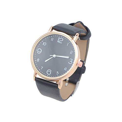 NICERIO Relógio feminino de quartzo – Mini relógio analógico de pulseira de couro com mostrador branco, quartzo, feminino, clássico, redondo, analógico, para meninas, mulheres e mulheres, Preto, 23.5*4 cm