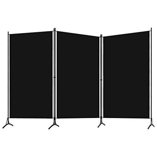 Ausla Biombo separador de 3 paneles, 260 x 180 cm, de hierro con recubrimiento en polvo y tela, color negro