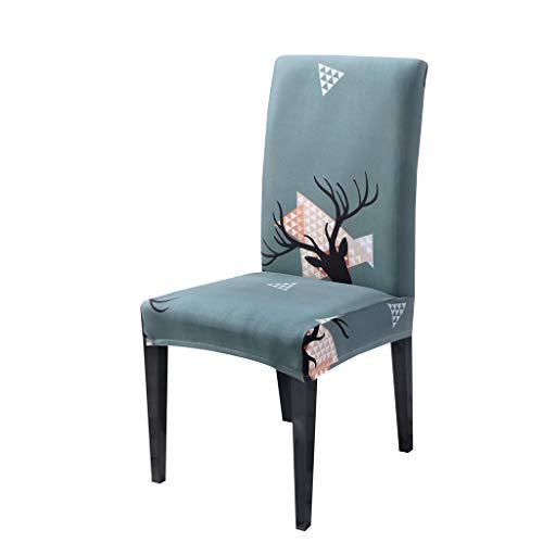 Higlles Weihnachten Dekoration Sitzbezug Dehnbar Stuhlabdeckung Weihnachtselch Muster Allgemeiner Zweck All-Inclusive-Stuhlbezug