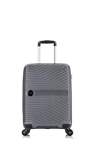Flymax - Maletas grandes con 4 ruedas, peso ligero, carcasa rígida, duradera, con combinación de 3 dígitos Gris gris CABIN