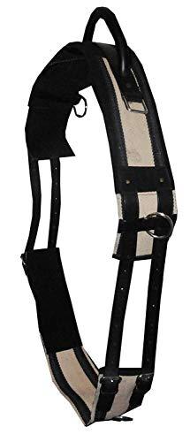 Longiergurt Reitgurt Soft Riding Gurt, Haltegriff auch für Holzpferde geeignet, schwarz/beige, Gr. Vollblut
