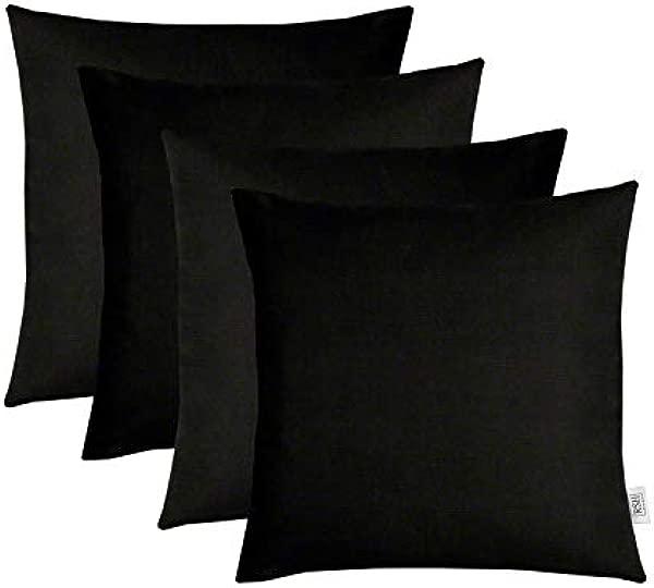 RSH D Cor 4 套室内室外方形抱枕 Sunbrella 帆布黑色 24X24