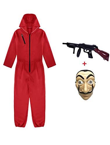 Yigoo Karneval, Halloween Fasching Kostüm Overall mit Maske und Spielzeugpistole Cosplay für Herren, Damen Erwachsene Rot 4 2XL