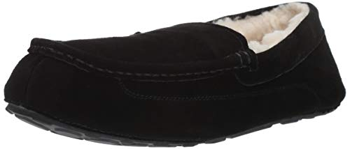 Amazon Essentials Men's Leather Moccasin Slipper, Black, 11 M US