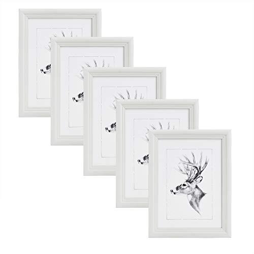 WOLTU 5er Set Bilderrahmen,15x20cm Artos Stil Holzrahmen Fotogalerie Glasscheibe,Weiß