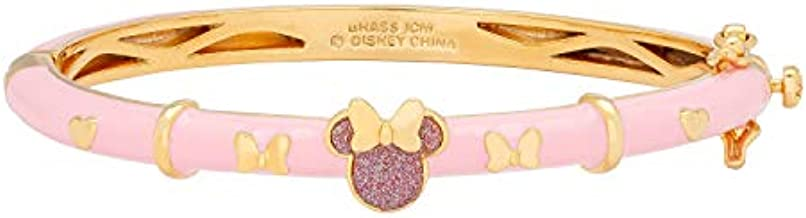 Disney Minnie Mouse Jewelry, Pink Glitter Bangle Bracelet with Yellow Gold Plating,