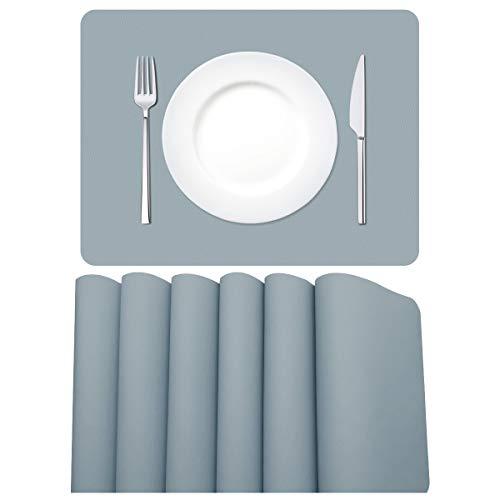 MORROLS Tischsets Abwaschbar, Tischset Leder 6er Set Lederoptik Kunstleder Wasserdicht Platzset für Zuhause Restaurant Speisetisch, 42x30cm, Hellgrau