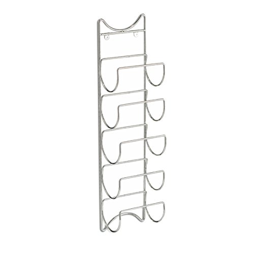 Zeller 27373–Porta Bottiglie da Parete, 5X Bottiglie, Metallo Cromato, ca. 15x 10,5x 61cm