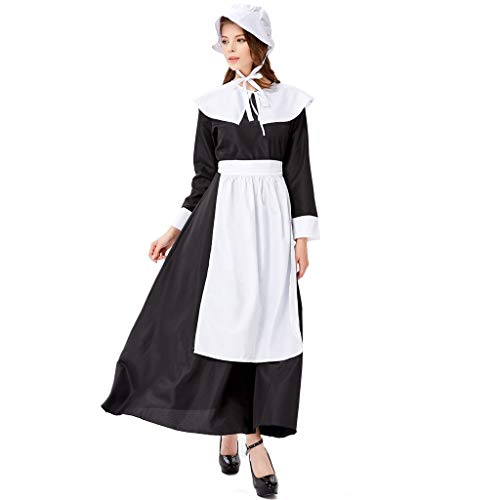 WFRAU Oktoberfest Damen Dirndlkleid 4 Stück Einfarbige Kleid+Schürze+Schal+Kopfbedeckungen Maidservant Bierfestkleid Dessous Bayerisches Bier Leistungskleidung Mädchen Cos Party Kleid Oberbekleidung
