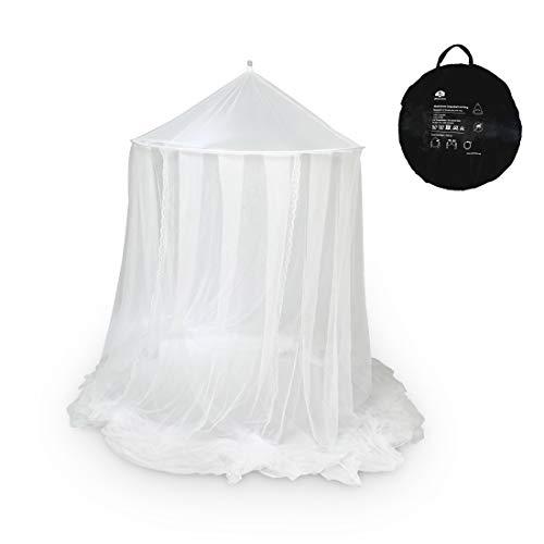 Ultranatura Moskitonetz fürs Doppelbett, einfach aufspannbarer Betthimmel bzw. Baldachin mit großem Ring, Pop Up Insektenschutz für innen, auch als Reisemoskitonetz nutzbar, weiß