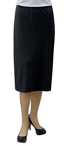 Baby'O Women's Basic Modest 26' Below The Knee Length Stretch Knit Straight Skirt, BLK, 10