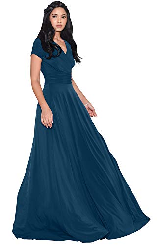 KOH KOH Womens Long Cap Short Sleeve V-Neck Flowy Cocktail Slimming Summer Sexy Casual Formal Sun Sundress Work Cute Gown Gowns Maxi Dress Dresses, Blue Teal M 8-10