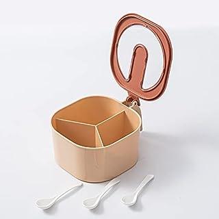 Boîte d'assaisonnement à 4 compartiments Boîte de cuisine Set avec couvercle de rangement domestique Organisateur Sel et p...