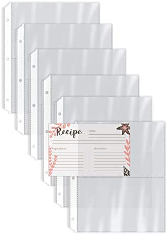 Recipe Card Page Protectors 100 Count 4 x 6 inch Pockets 2 Pockets Per Page by Better Kitchen product image