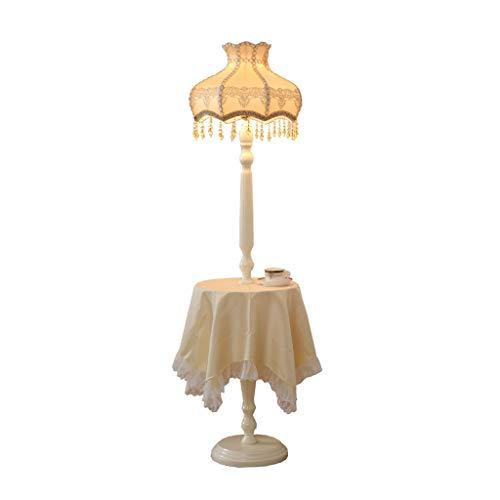 Jixi staande lamp E27 staande lamp Nordic creatieve massief hout met opbergschaal tafelkleed vloerlicht stof lampenkap staande lamp slaapkamer staande lamp