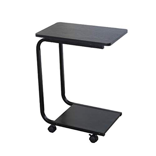 LBYMYB Mini mesa auxiliar de moda para sala de estar, sofá esquinero, portátil, caféoocio con polea doble estante (48 x 30 x 60 cm) mesa plegable